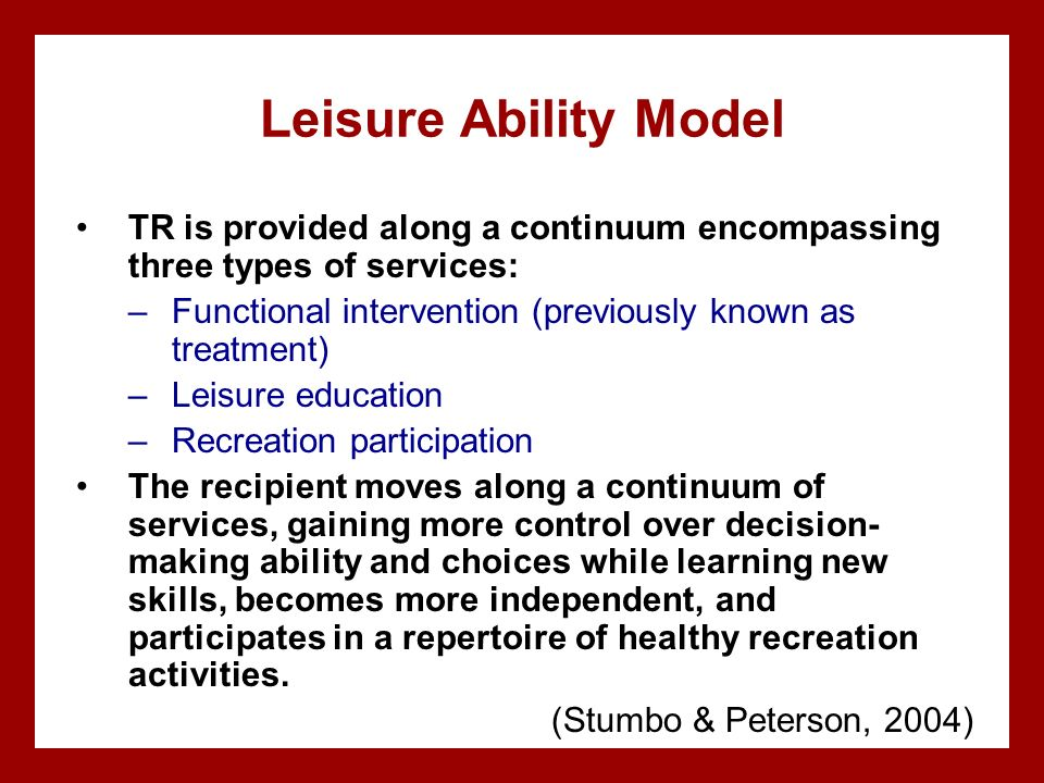 the leisure ability model World leisure commission on leisure education a person-centered, system-directed, social policy perspective ©2013 sagamore publishing llc i also realized that her leisure education model examined the interchange of how leisure influences society and how society influences leisure dr.