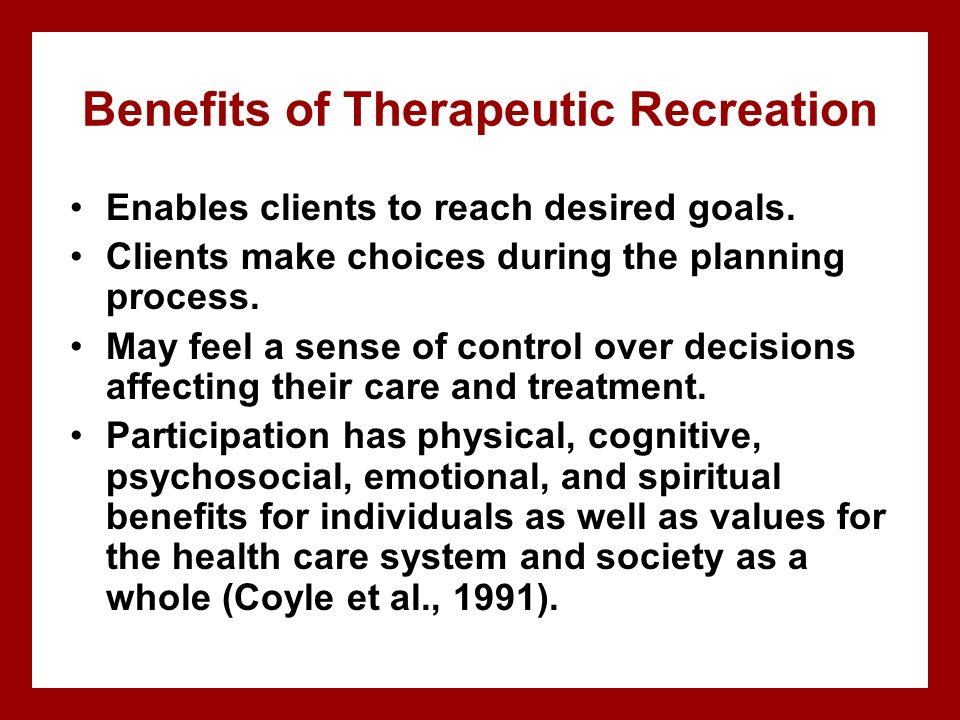 philosophy of therapeutic recreation Standards of practice for recreation as a therapy and a service both in nova scotia  therapeutic recreation principles,  philosophy and mission statement.