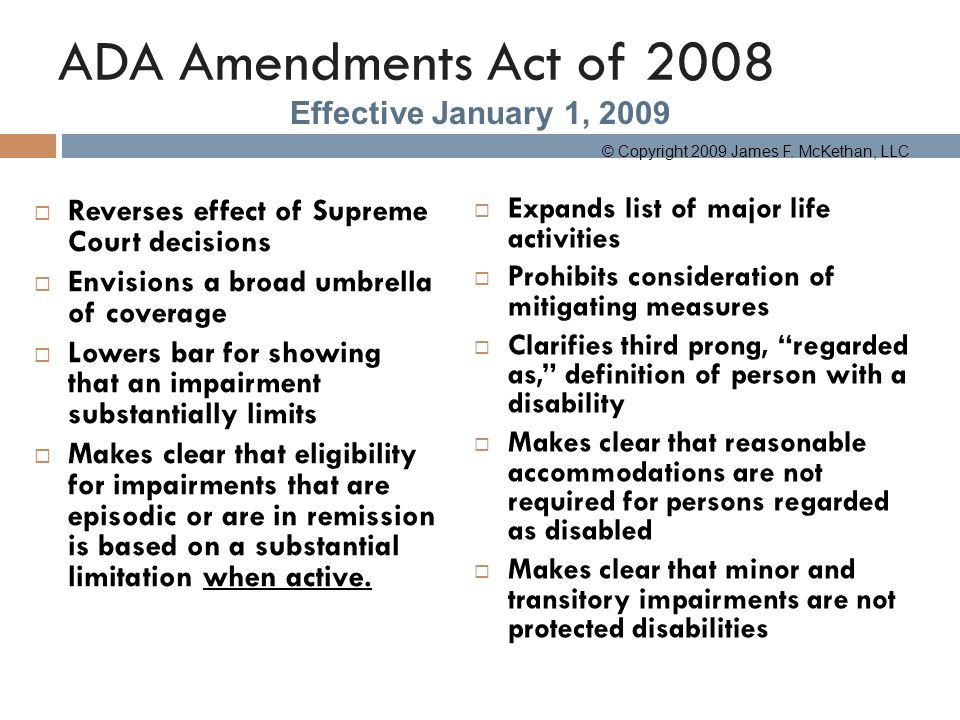 an analysis of americans with disabilities act and disabilities Americans with disabilities act (ada)--overview and basic legal analysis ada is a rare example of proactive civil rights legislation applies to unions (re: membership) as well as employers.