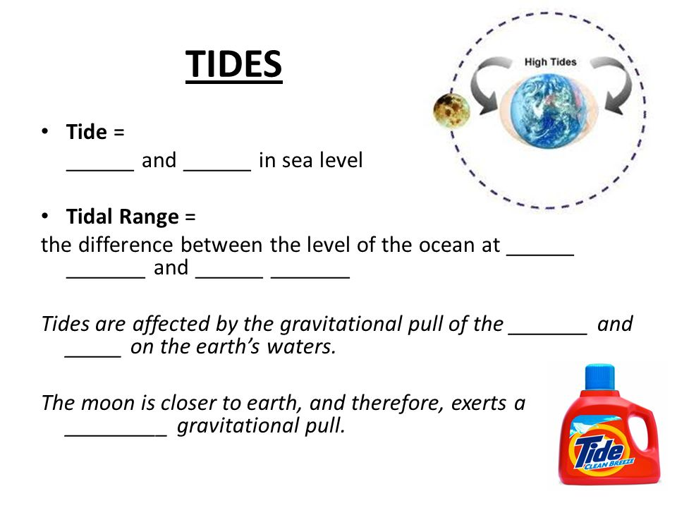 TIDES Tide = ______ and ______ in sea level Tidal Range =