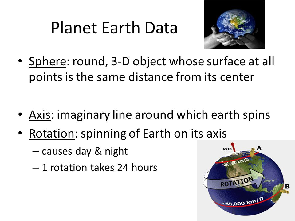 Planet Earth Data Sphere: round, 3-D object whose surface at all points is the same distance from its center.