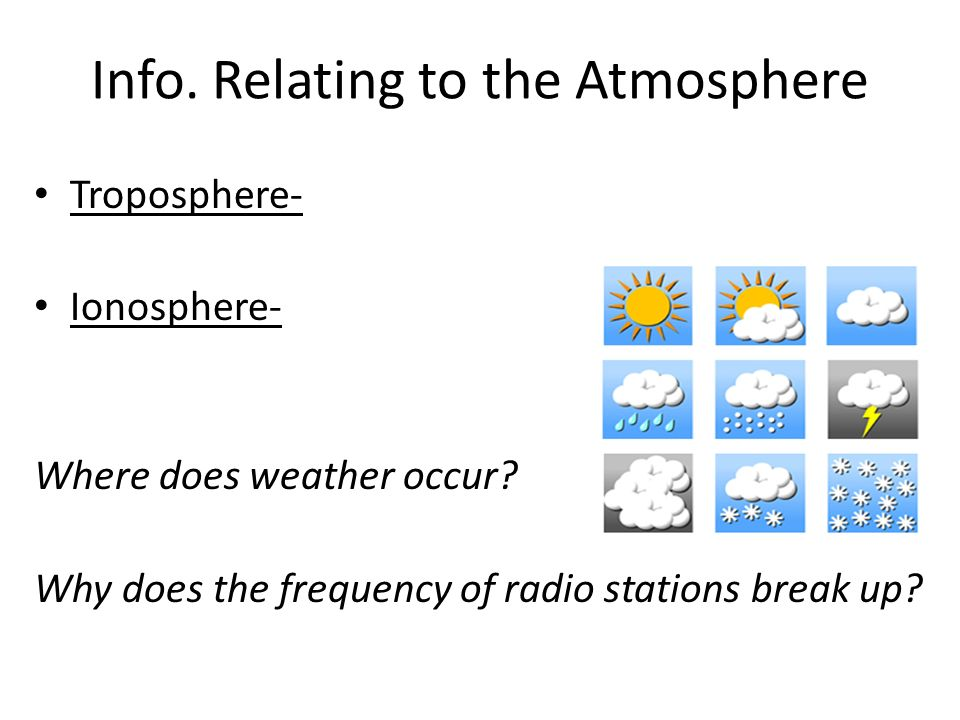 Info. Relating to the Atmosphere