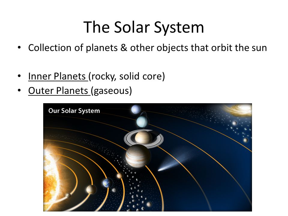The Solar System Collection of planets & other objects that orbit the sun. Inner Planets (rocky, solid core)