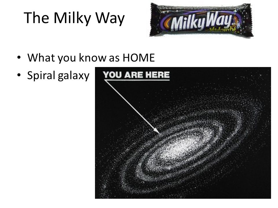 The Milky Way What you know as HOME Spiral galaxy