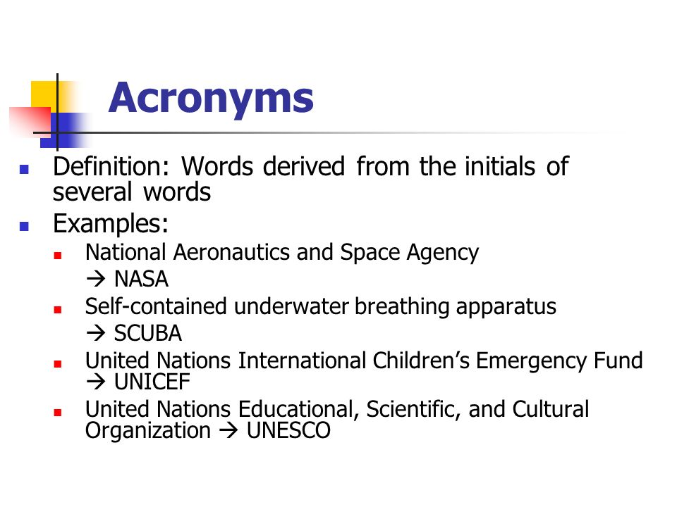 Acronyms Definition: Words Derived From The Initials Of Several Words