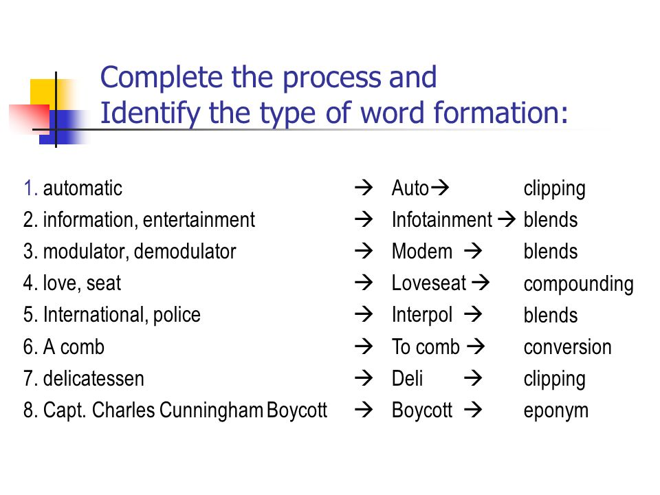 compounding word formation Formation of words has few rules which determine the nature of the words formed thus in most compound words, it is the first word which modifies the meaning of the second word formation of nouns from adjectives: examples: dolt from dull.
