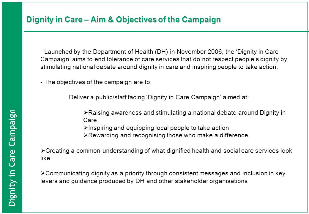 Dignity in Care – Aim & Objectives of the Campaign