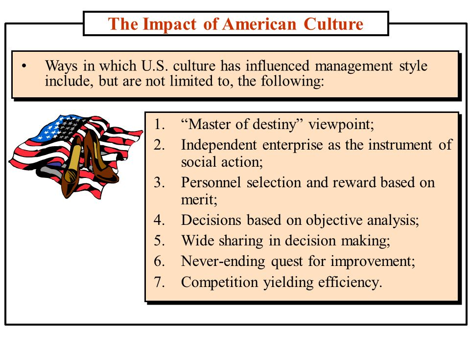 an analysis of the influence on the american culture today I'm not an american literature major, but i'd say it pretty much ended after british romanticism that had a huge influence on our thought and literature, but we adapted it to describe our own wildernesses and culture.