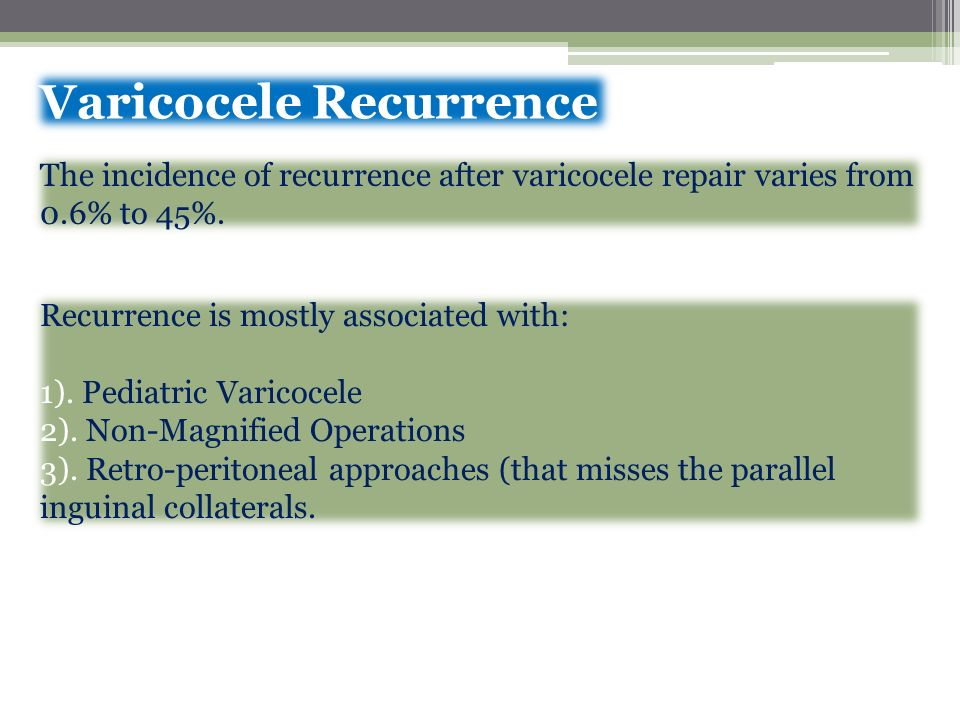 Varicocele Recurrence