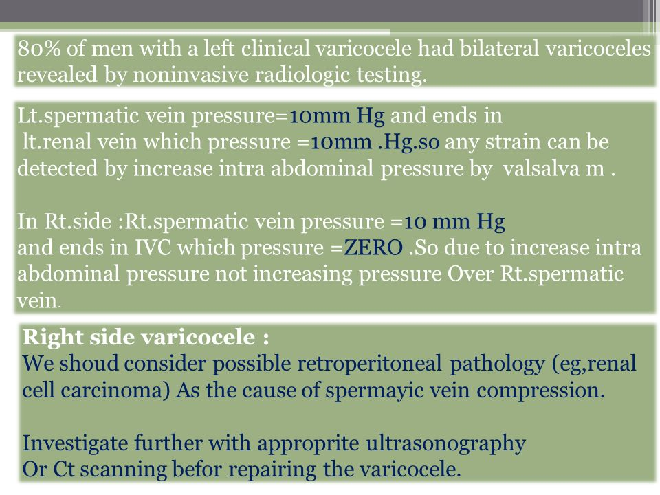 80% of men with a left clinical varicocele had bilateral varicoceles revealed by noninvasive radiologic testing.
