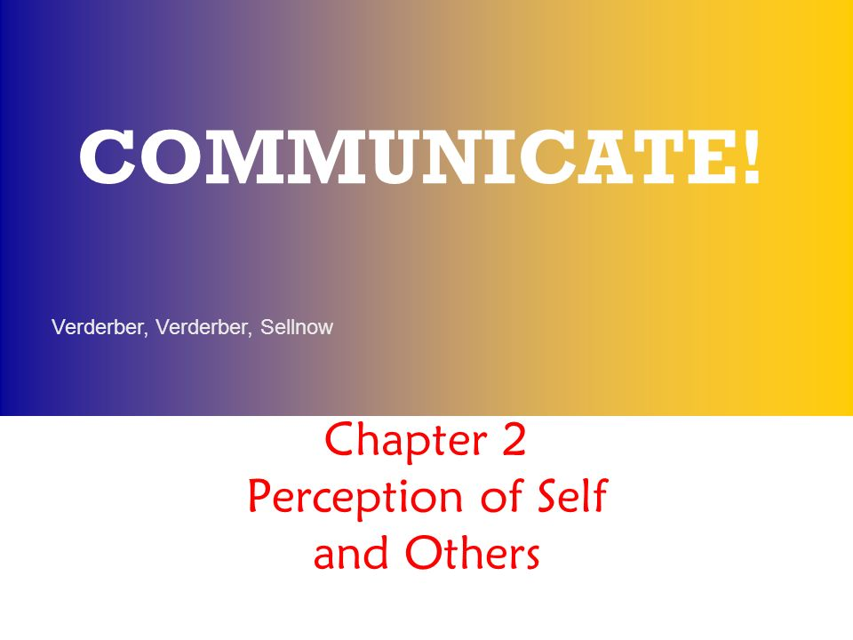 Chapter 2 Perception Of Self And Others