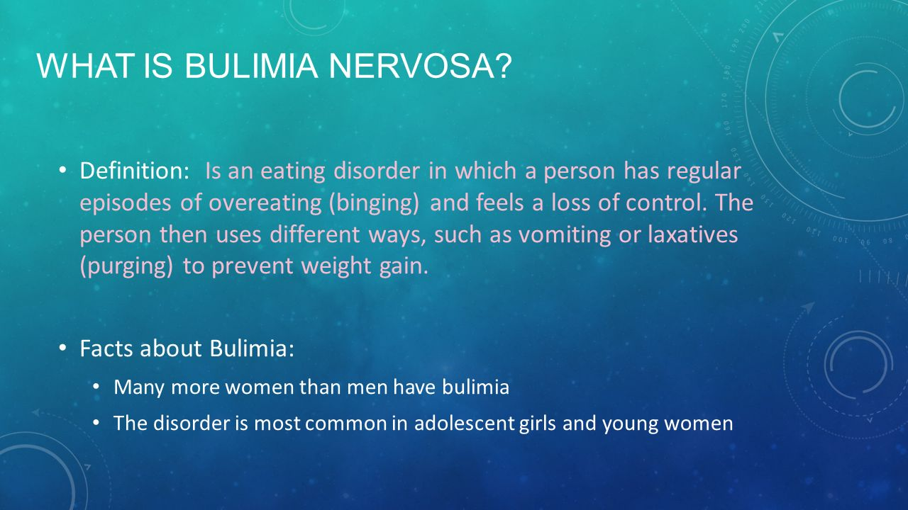 A description of the bulimia nervosa eating disorder