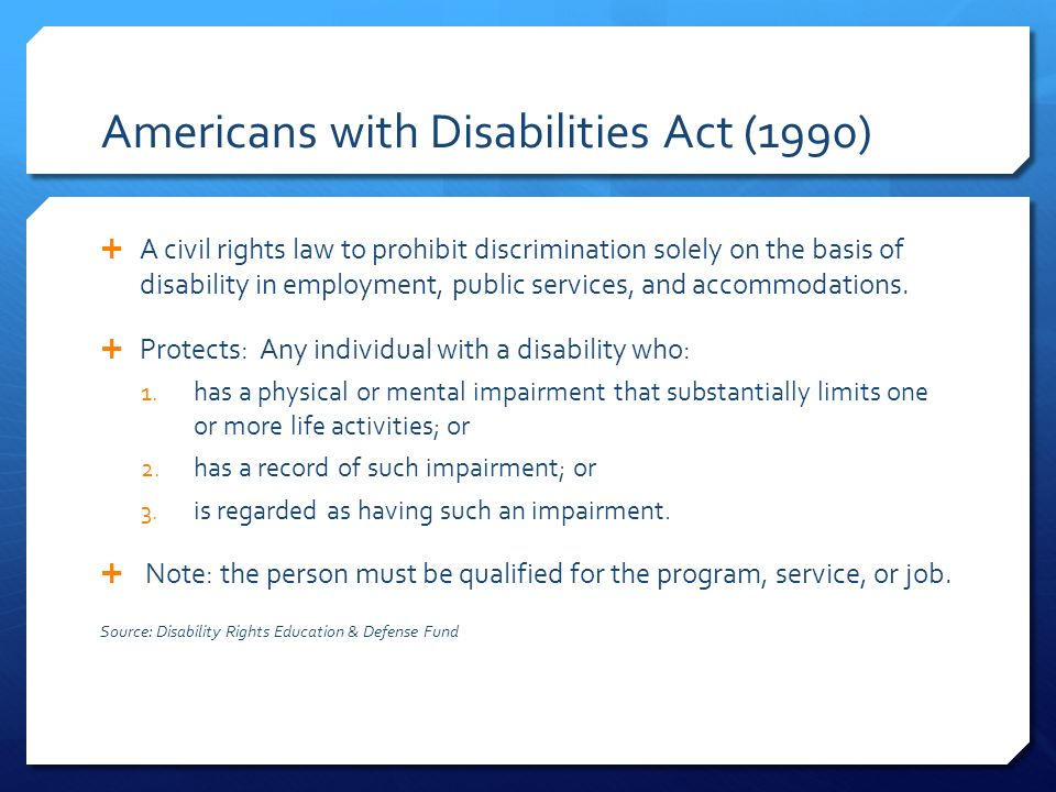 americans with disability act of 1990 In accordance with the requirements of title ii of the americans with disabilities act of 1990 (ada), the city of ventura will not discriminate against qualified individuals with disabilities on the basis of disability in its services, programs, or activities.