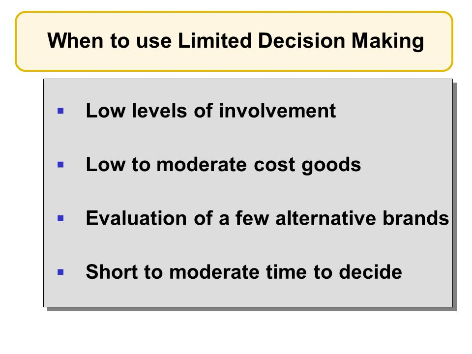 When to use Limited Decision Making