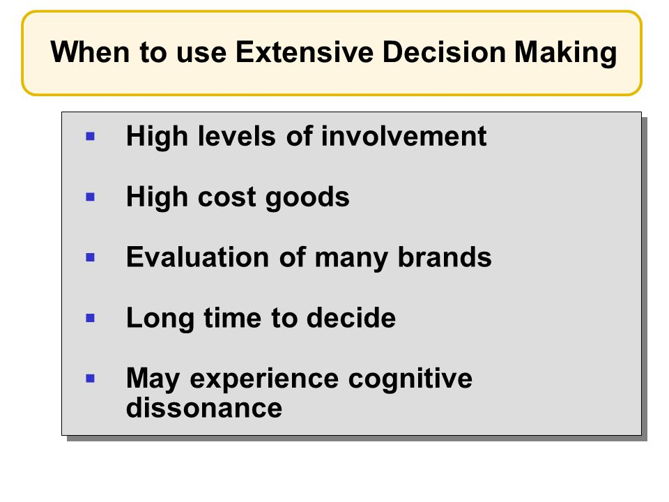 When to use Extensive Decision Making