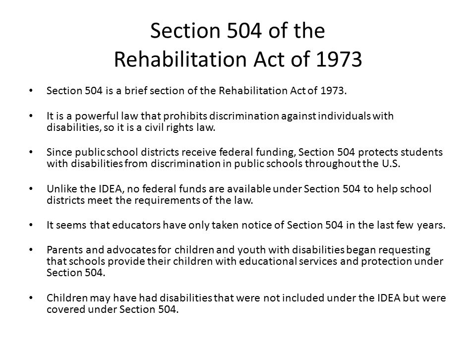 Section 504 Of The Rehabilitation Act Of Ppt Download
