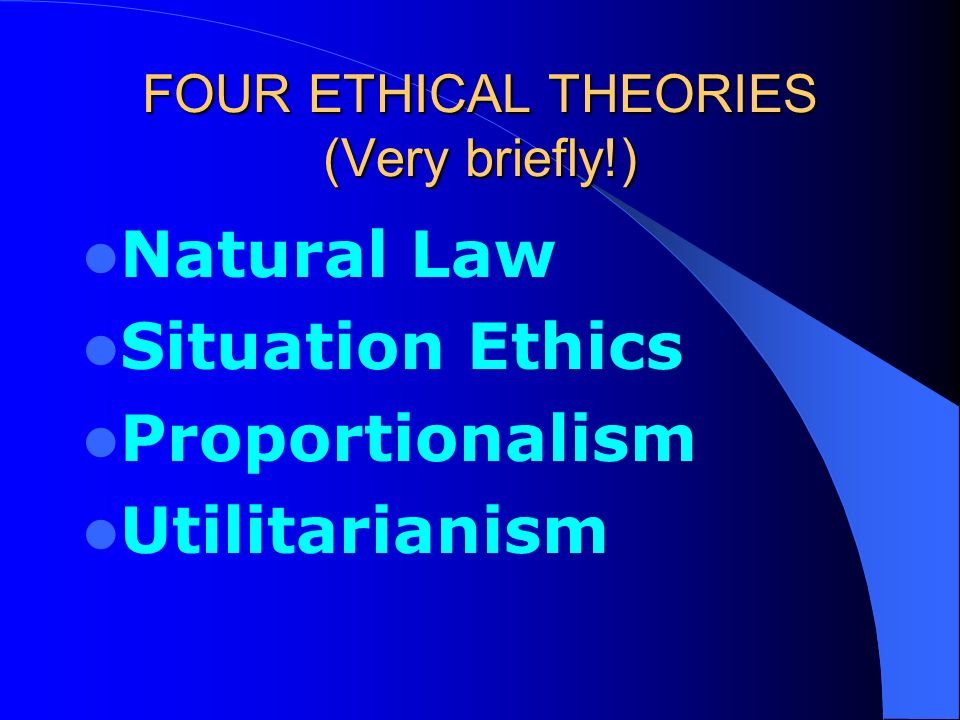 situation in ethic Joseph fletcher's situation ethics is considered in terms of its four working principles and then evaluated by roman catholic and evangelical christian criticisms.