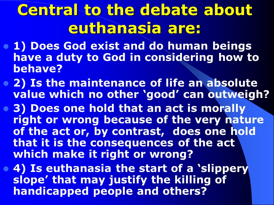 euthanasia is murder always morally wrong Right and wrong is a question of morality in philosophy, there are no absolute true statements about morality so, murder is always wrong will not hold true however, murder is often.