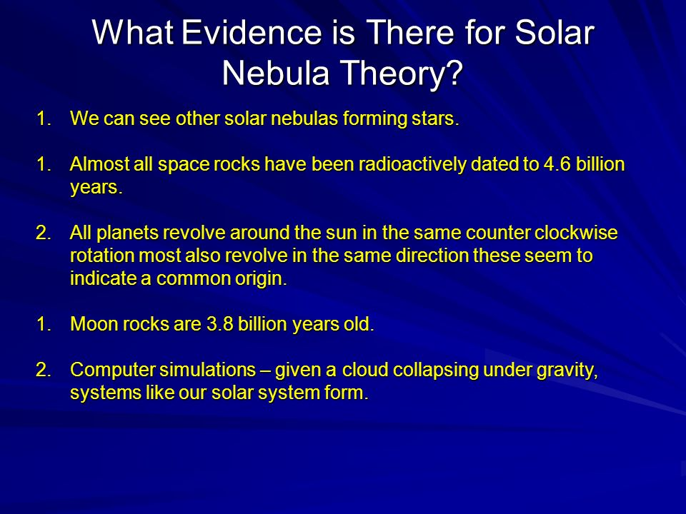 What Evidence is There for Solar Nebula Theory