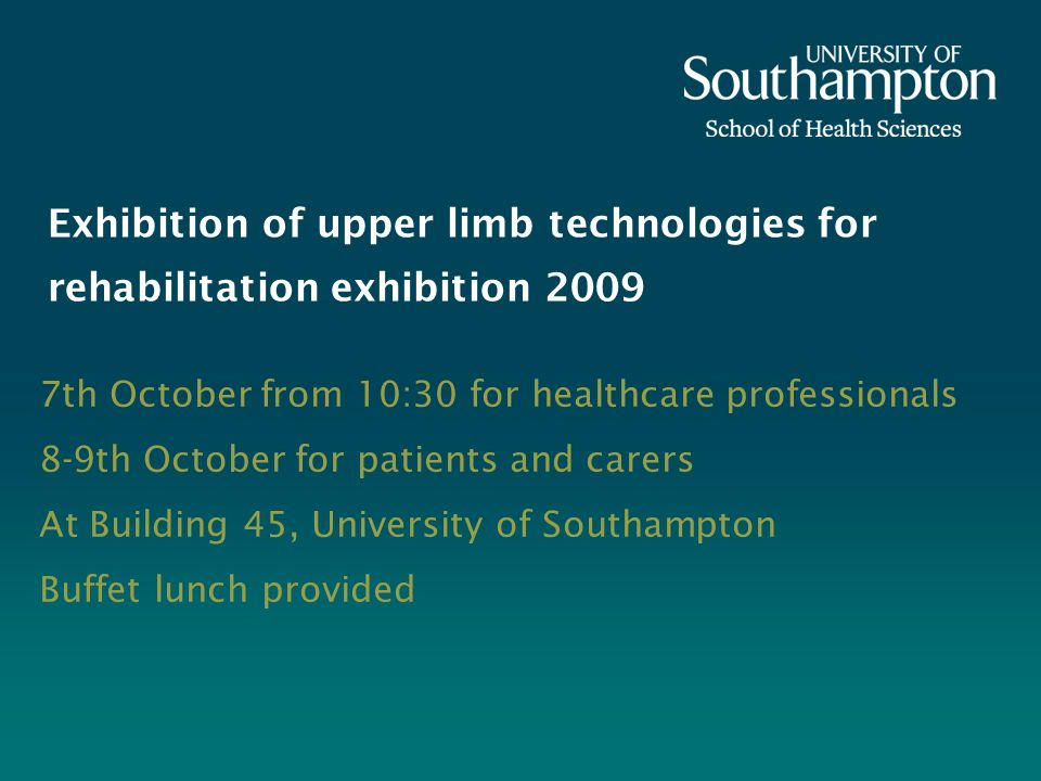 Exhibition of upper limb technologies for rehabilitation exhibition 2009