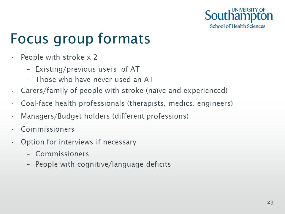 Focus group formats People with stroke x 2