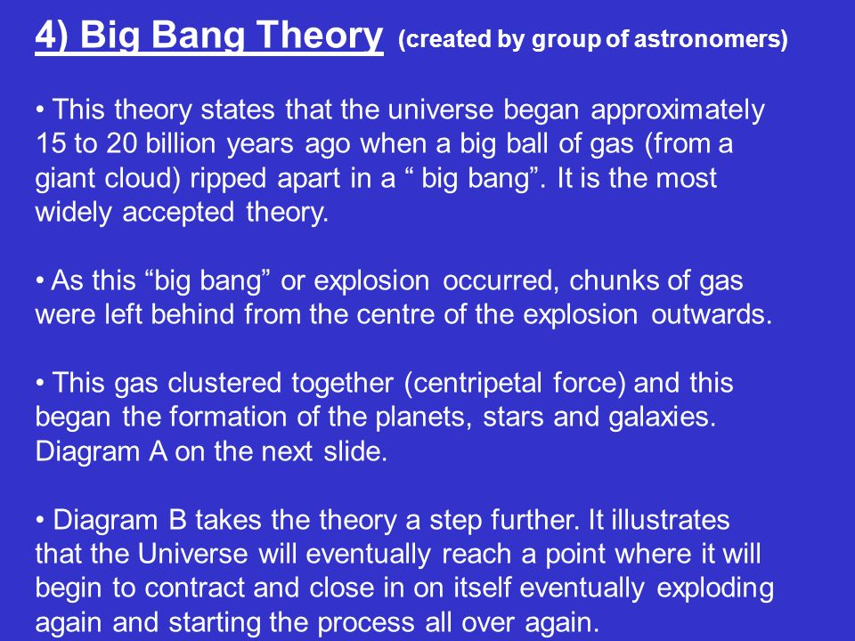 4) Big Bang Theory (created by group of astronomers)