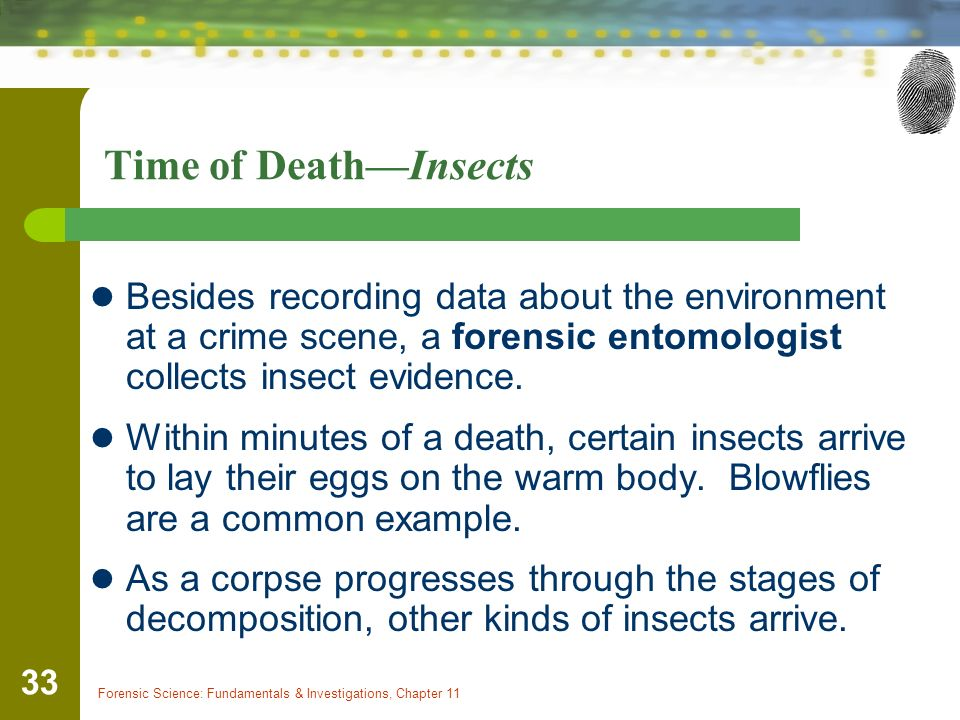 estimating time of death and using insects in the investigation of suspicious deaths Time of death (item 30 this handbook is designed to acquaint medical examiners and coroners deaths that typically require investigation.