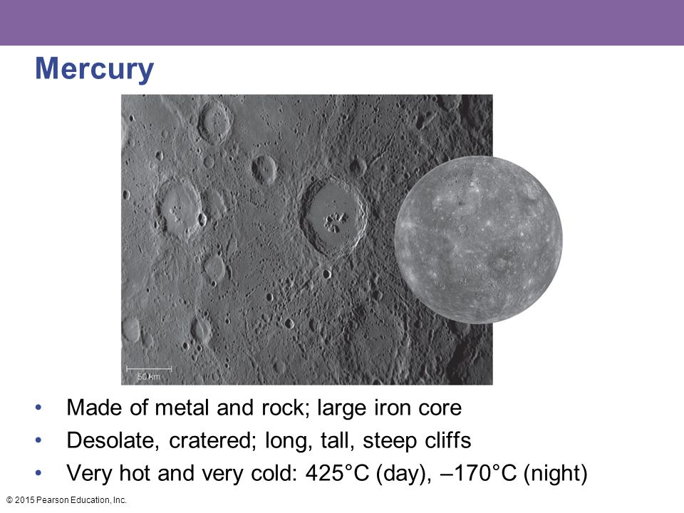 Mercury Made of metal and rock; large iron core