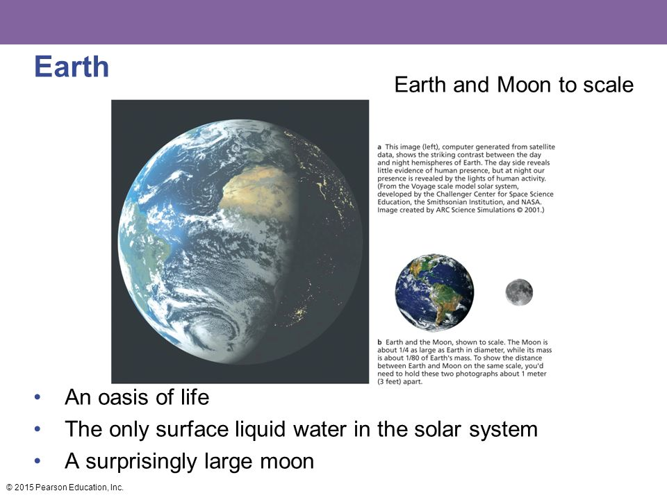 Earth Earth and Moon to scale An oasis of life