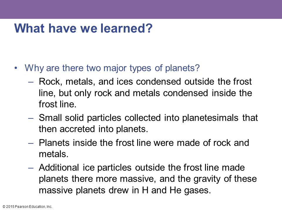What have we learned Why are there two major types of planets