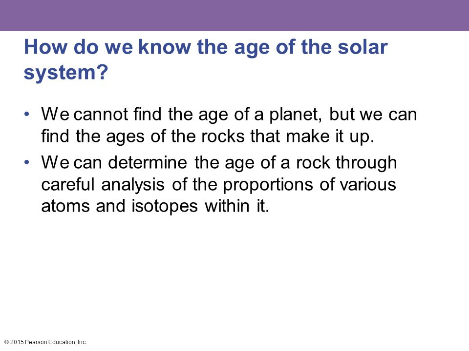 How do we know the age of the solar system