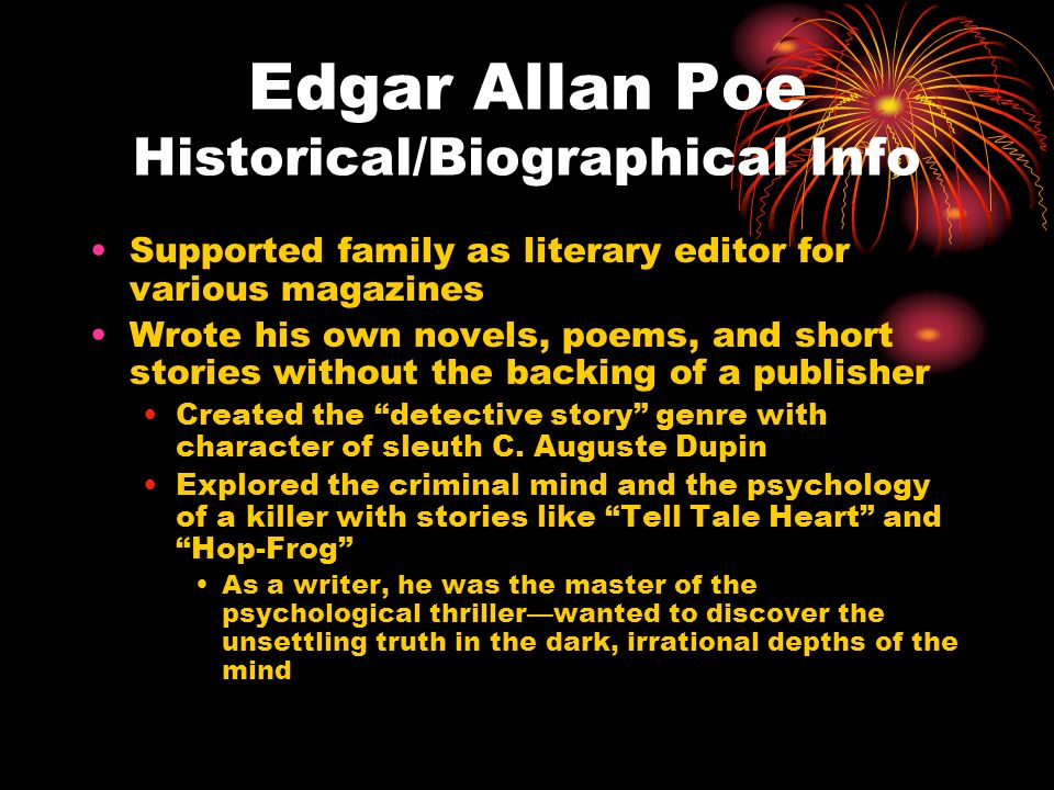 an analysis of family connection in the tell tale heart a short story by edgar allan poe Tension and atmosphere in his short story the tell tale heart allan poe was born to a scots-irish family in edgar allan poe 'tell tale heart' and 'the.