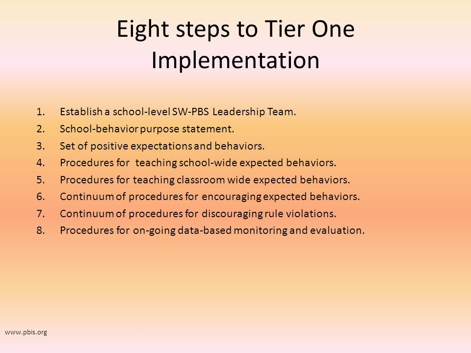 Eight steps to Tier One Implementation