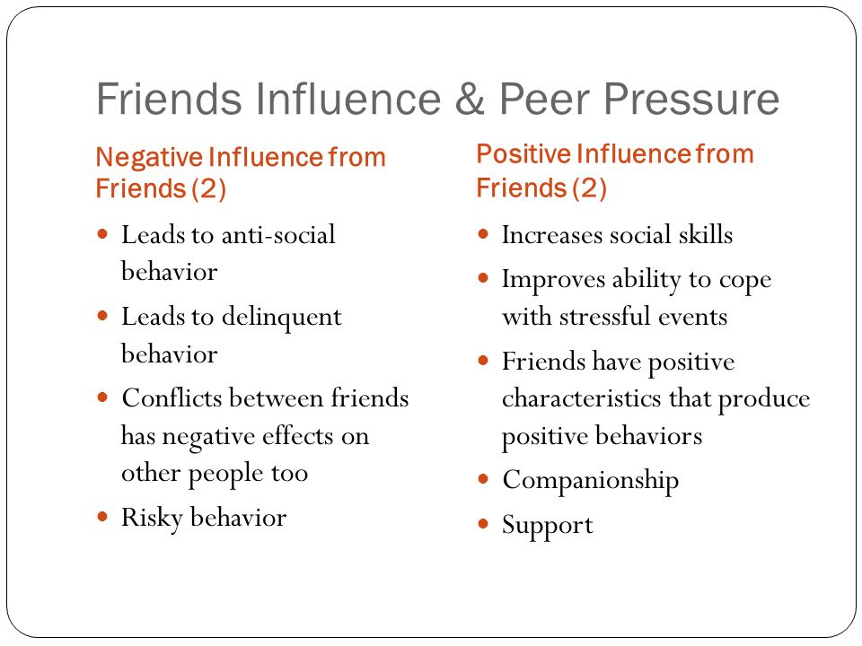the positive and negative influences of peer pressure on behavior The social norms, beliefs, language and mores of a society define its culture the  influence of culture can have both positive and negative effects on a teen's.