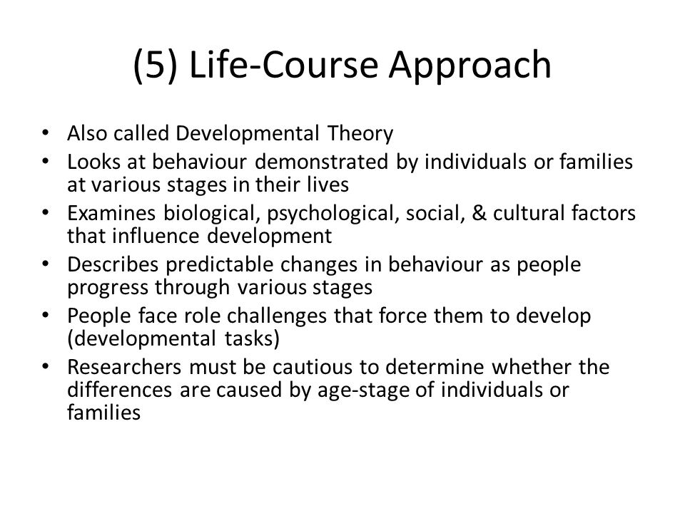 (5) Life-Course Approach