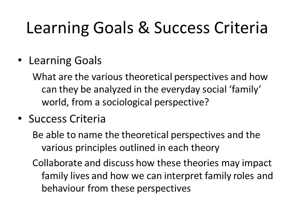 Learning Goals & Success Criteria