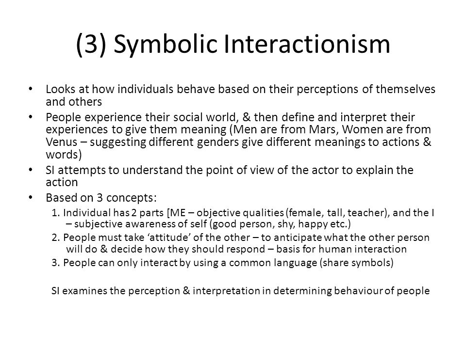 (3) Symbolic Interactionism