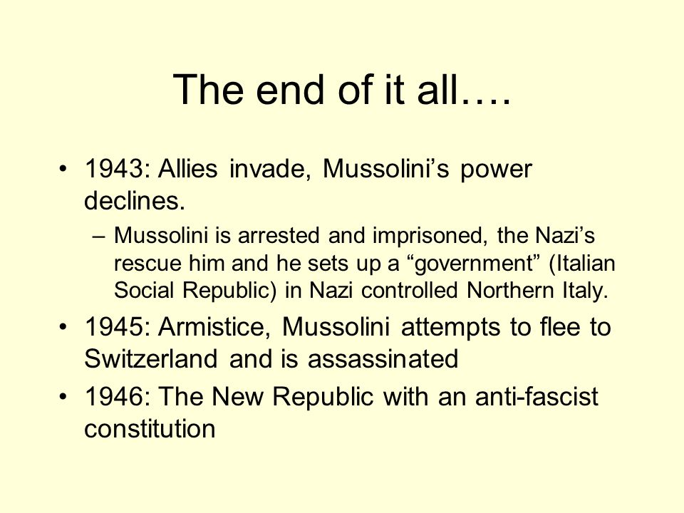 benito mussolini and the rise of fascism Fascism is the totalitarian philosophy of government that glorifies the state and  nation and assigns to the  the rise of mussolini immediate post-ww i italy  fascism, to some extent, was a product of a general  benito mussolini (1883- 1945.