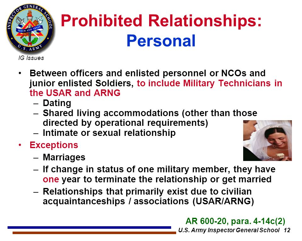 dating between military branches Air force instruction 36-2909 1 may 1999  and between military personnel and civilian employees  dating, courtship,.