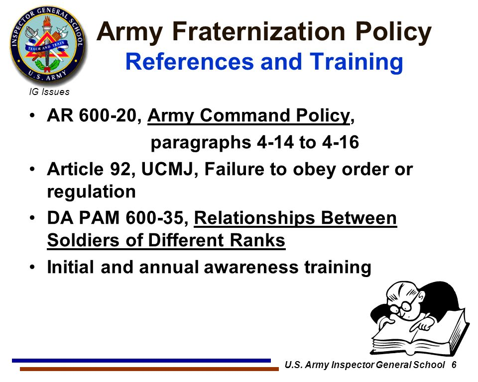 Army fraternization policy ar 600 20