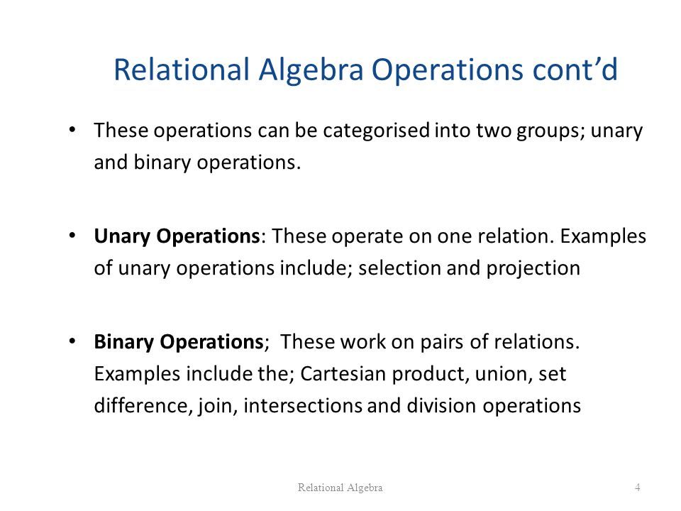 relationship algebra selection and projection