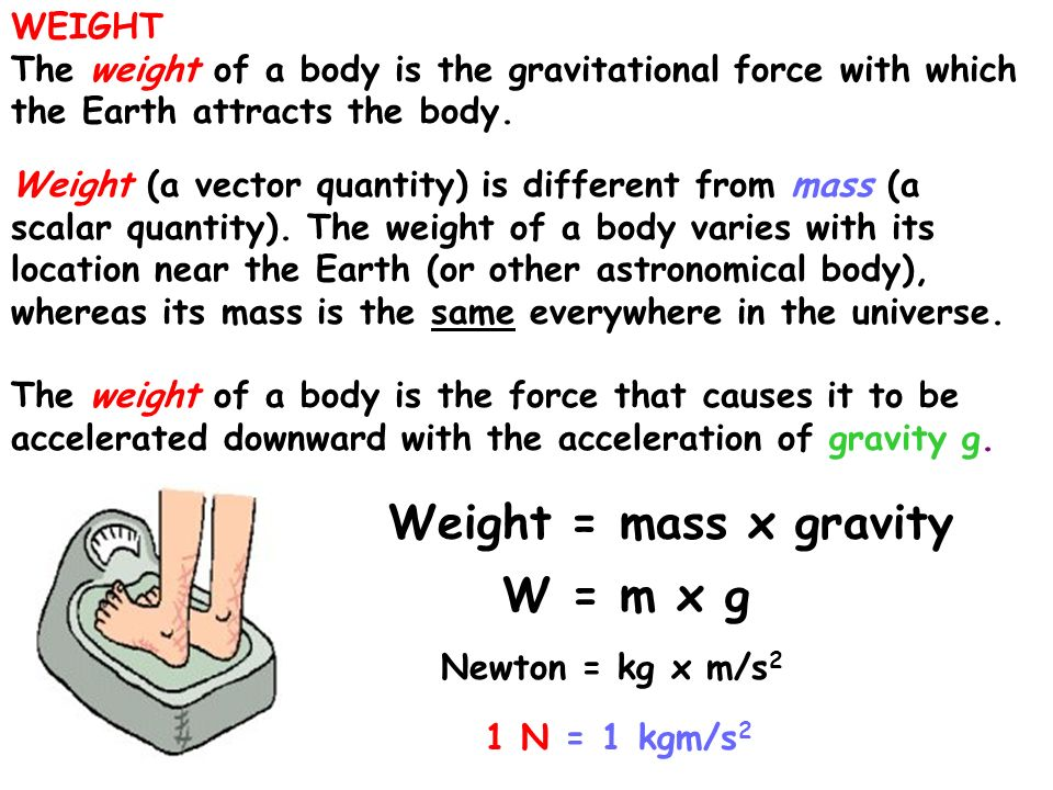 Weight = mass x gravity W = m x g WEIGHT