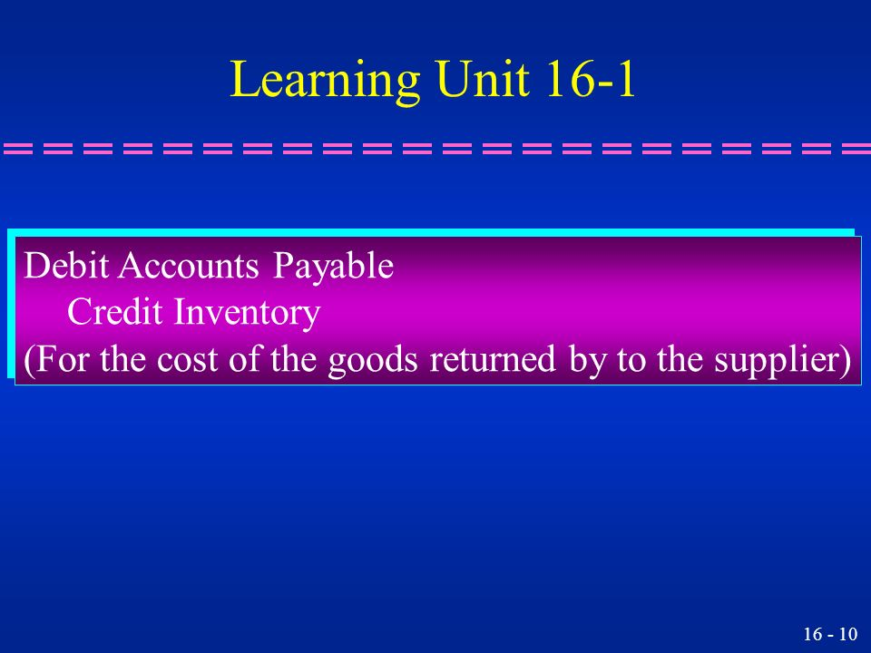 Learning Unit 16-1 Debit Accounts Payable Credit Inventory