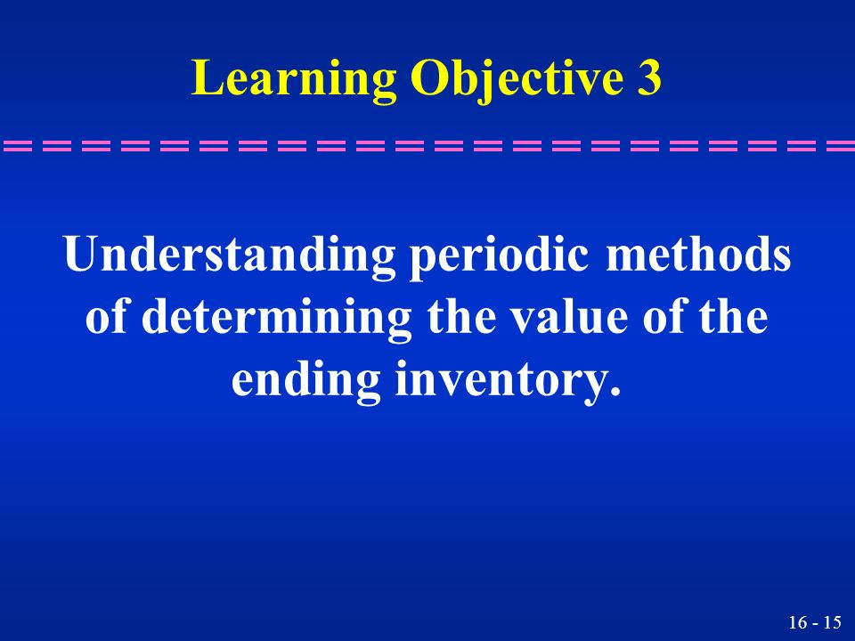 Understanding periodic methods of determining the value of the