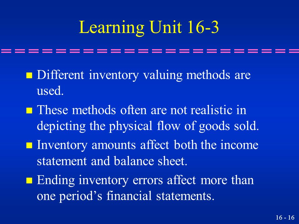 Learning Unit 16-3 Different inventory valuing methods are used.