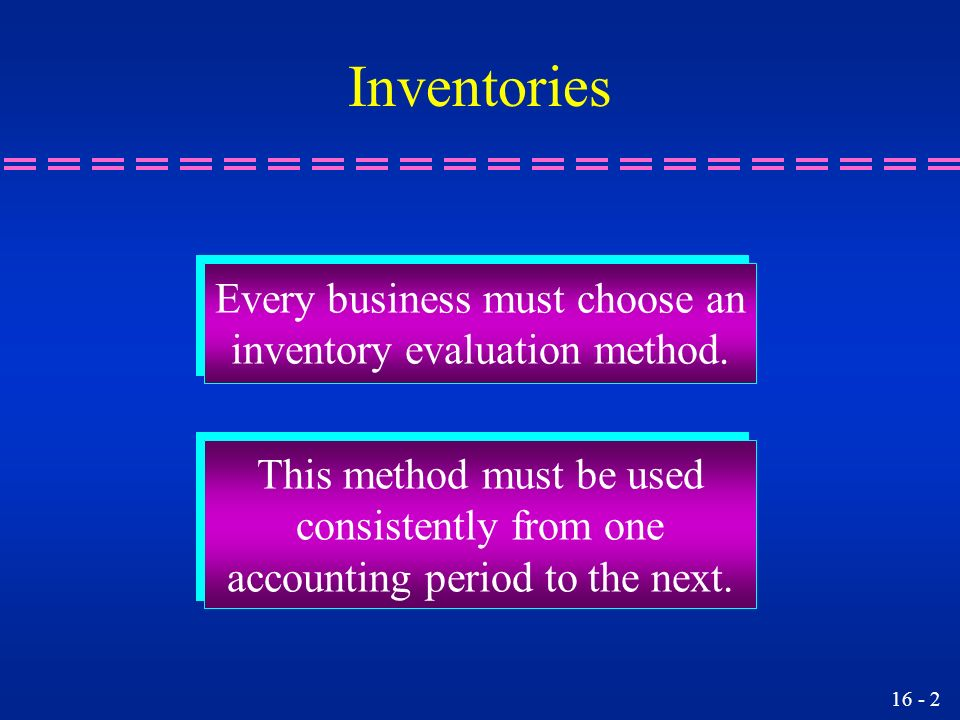 Inventories Every business must choose an inventory evaluation method.