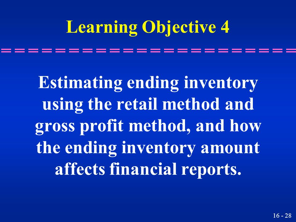 Estimating ending inventory using the retail method and