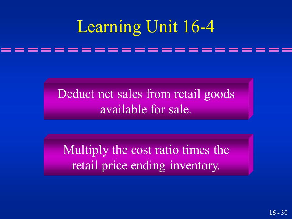 Learning Unit 16-4 Deduct net sales from retail goods
