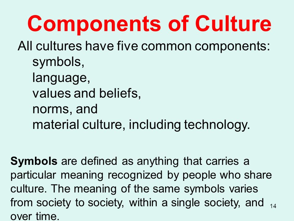 components of culture are symbols language values beliefs norms The common components across cultures are symbols, values and norms all cultures include symbols which confer meanings to things and events language conveys the beliefs and values of a culture values are ideas these ideas are translated into norms which give us in concrete terms how we should behave.