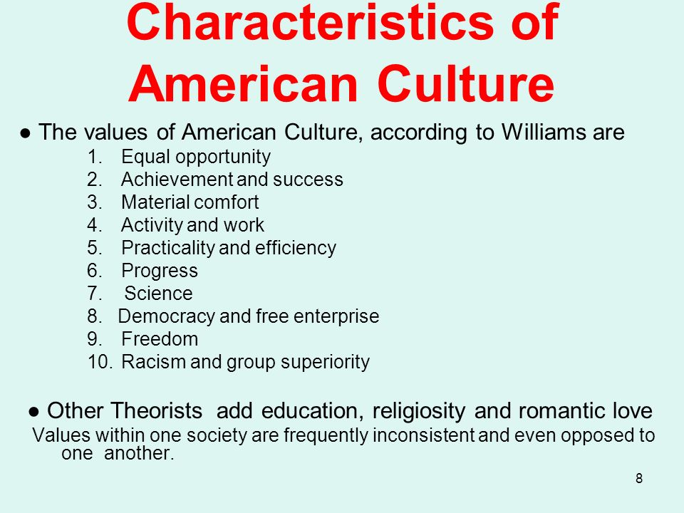 """the characteristics of american culture essay Sara smolinsky and cultural pluralism in jewish-american culture essay example - george schuyler's article """"the negro art hokum"""" argues that the notion of african-american culture as separate from national american culture is nonsense."""